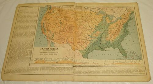 1899 Maury COLOR MAP/UNITED STATES PHYSICAL MAP (Mountains, etc.)