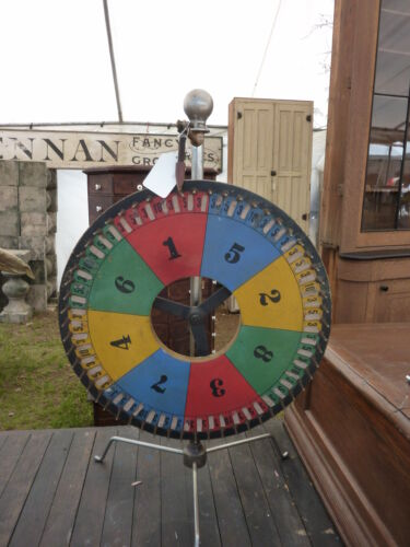 """FOLK ART 20th century GAMING carnival WHEEL w/stand FUNKY 18"""" dia x 29.5""""h stand"""