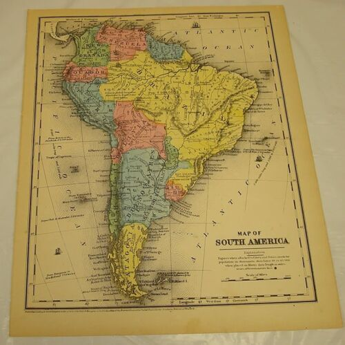 1854 Smith's Antique Color Map of SOUTH AMERICA