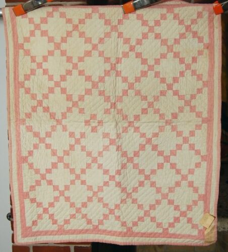 "Vintage 1890's Miniature Nine Patch Antique Crib Quilt ~1"" Postage Stamp Pieces!"