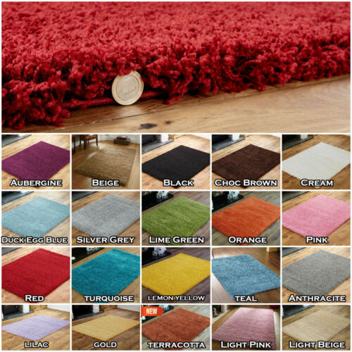 SMALL X LARGE THICK MODERN 5cm HIGH PILE PLAIN SOFT NON-SHED SHAGGY LOW COST RUG <br/> 30000+ SOLD ✅FREE UK MAIN DELIVERY ✅ CIRCLE RUNNER RUGS