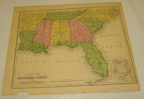 1871 WARREN Antique Map/SOUTHERN STATES of USA/Hand-Colored