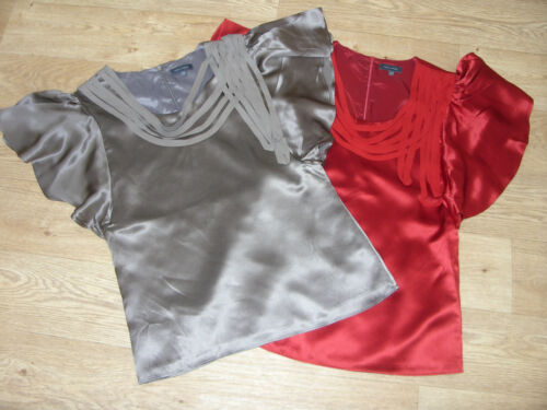 PIED A TERRE Lace Loop Frill Detail Sleeve Silk Top RRP £80