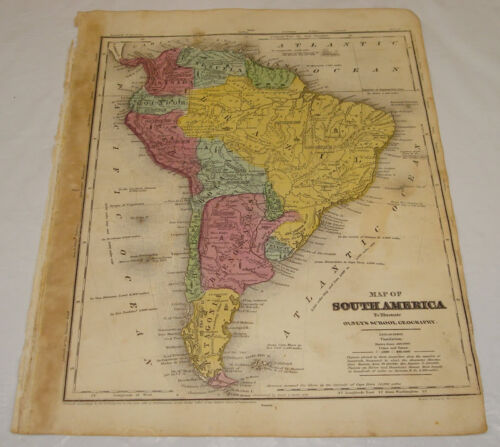 1844 OLNEY Antique Map/SOUTH AMERICA/Hand-Colored
