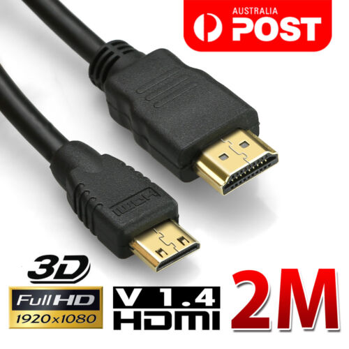 2M HDMI to Mini HDMI Cable High Speed 1080p FULL HD V1.4 Video Camera Ultrabooks