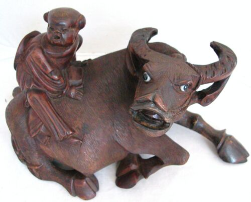 """Antique Chinese Carved Wood Statue of Ox or Water Buffalo with Child  (10.5"""")"""