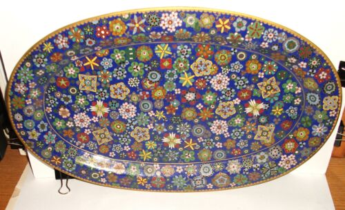 RARE OLD LARGE CHINESE CLOISONNE BLUE ENAMEL MILLEFLEUR PLATE PLATTER TRAY