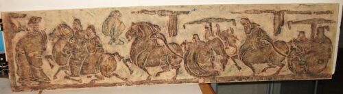 "CHINESE ""HORSES & CHARIOTS"" OLD ORIGINAL STONE RUBBING"