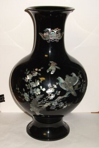 """HUGE 16""""3/4 H. KOREAN MOTHER OF PEARL BIRDS ON BLOSSOMS TREE BLACK LACQUER VASE"""