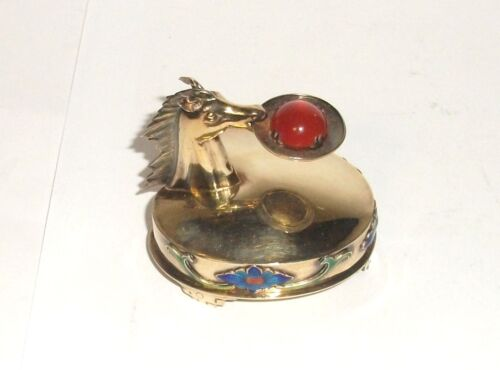 CHINESE SILVER CLOISONNE ENAMEL HORSE WITH CARNELIAN STONE PILL SNUFF JAR BOX