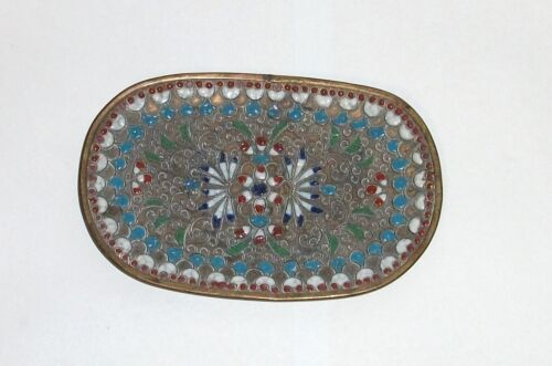 SMALL FLORAL CLOISONNE RUSSIAN STYLE CHAPLEVE ENAMEL PIN TRAY PLATE