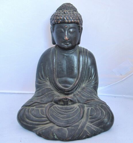 "7.4"" Antique Chinese Bronze or Copper Seated BUDDHA in Lotus Position"