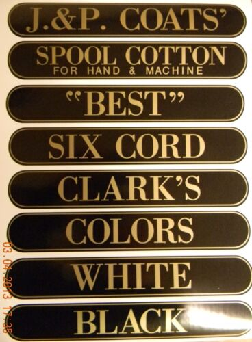 J & P COATS SPOOL CABINET DECALS 8 PIECE SET / Gold on Black 10 1/4 X 1 5/8