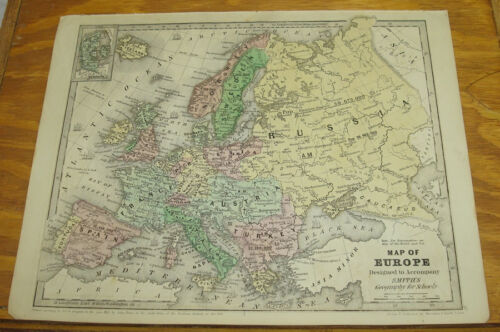 1843 Smith's Antique COLOR Map/EUROPE