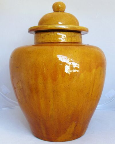 "Big 15"" Chinese or Japanese Ginger Jar or Vase w/ Yellow Crackle Drip Glaze"
