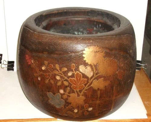 LARGE JAPANESE KIRI WOOD TREE TRUNK IKEBANA FLOWER POT WITH COPPER LINER