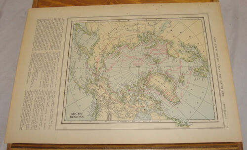 1908 Colliers Antique COLOR Map/ARCTIC REGIONS, b/w ANTARCTIC REGIONS