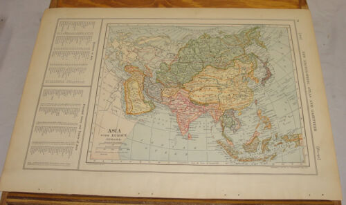1908 Colliers Antique COLOR Map/ASIA & EURASIA, b/w SOUTHERN SOUTH AMERICA