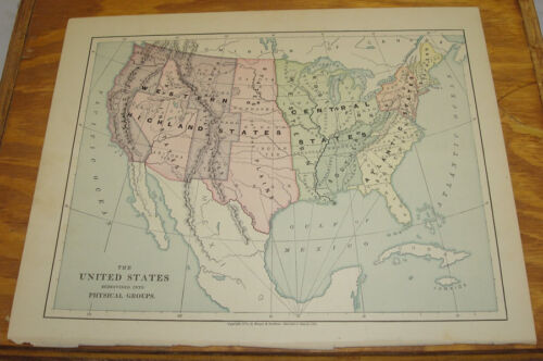 1887 Harpers Antique COLOR Map/UNITED STATES (Physical Groups)