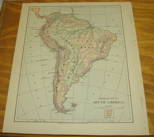 1887 Harpers Antique COLOR Map/SOUTH AMERICA (Physical)