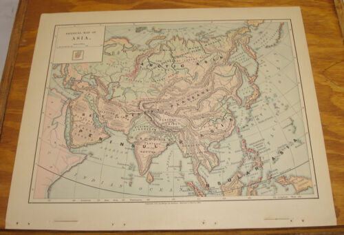 1887 Harpers Antique COLOR Map/ASIA (Physical)
