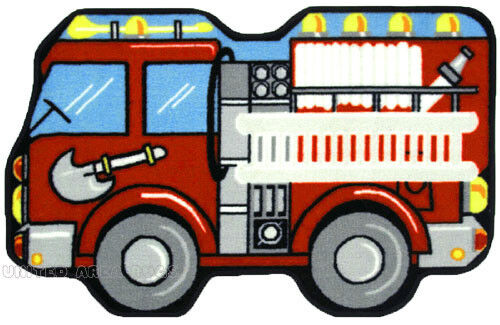 "31"" x 47""  Fire Truck  Rug   Fire Engine  Kids  Shaped Play Mat  3x4 New"