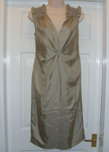 Pleat Front Ruched Shoulder Drape Silk Dress by Pied A Terre (RRP £120)