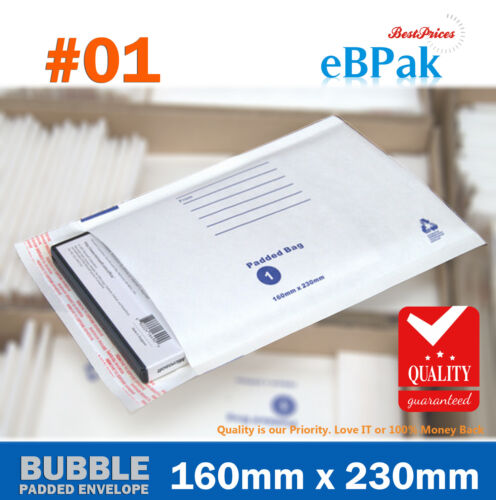 200x Bubble Envelope Padded Bag 01 160 x 230mm White Cushioned Mailer 01 C5 A5