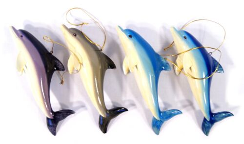 "Hand Painted Large Assorted Dolphin Ornament 6"" (set of 4) 22D"
