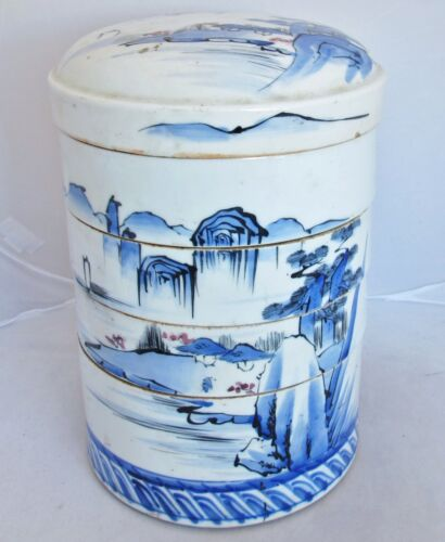"""11"""" Antique Japanese Blue & White Stacking Bowl Container w/ Mountain Landscape"""