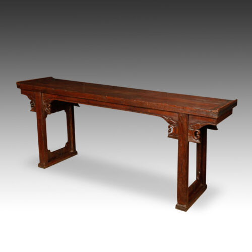 LARGE CHINESE CARVED ELM WOOD WINGED ALTAR TABLE - 19TH C - SOLID PIECE TOP!