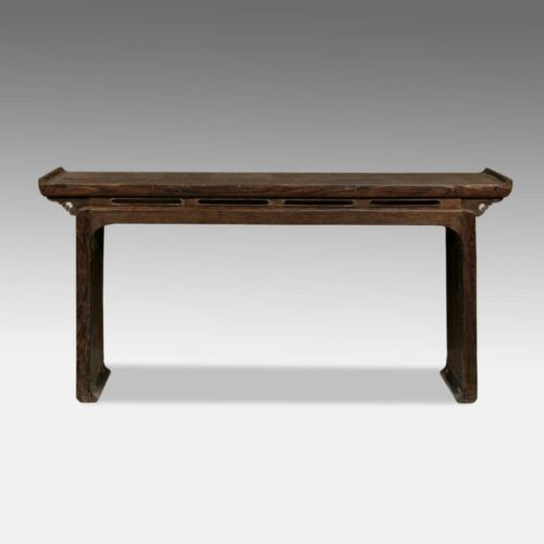FINE ANTIQUE CHINESE CARVED YUMU ELM WOOD ALTAR TABLE - SOLID PLANK TOP - 18TH C