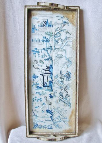 """22.8"""" Tray Framed Antique Chinese Blue & White Embroidery Silk Sleeve Cuffs"""