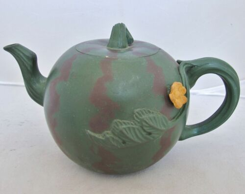 """Signed Chinese Purple & Green YIXING Clay Melon Shape Teapot w/ Leaves  (6.7"""")"""