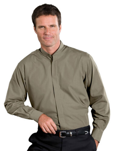 Edwards Garment Men's Banded Collar Long Sleeve Soft Dress Shirt. 1396