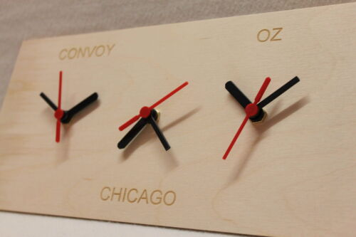 Triple Wall Clock Wooden New York Dublin Sydney Chicago or whatever You Want