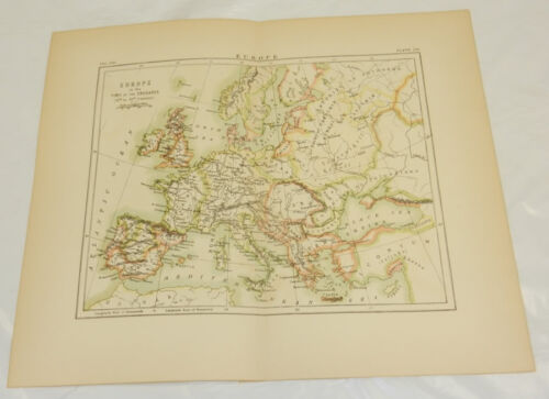 1878 Antique COLOR Map/EUROPE AT THE TIME OF THE CRUSADES