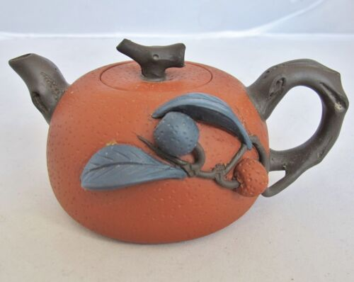 "5.4"" Used Chinese Red YIXING Zisha Clay Teapot w/ High Relief Fruit & Chop Marks"