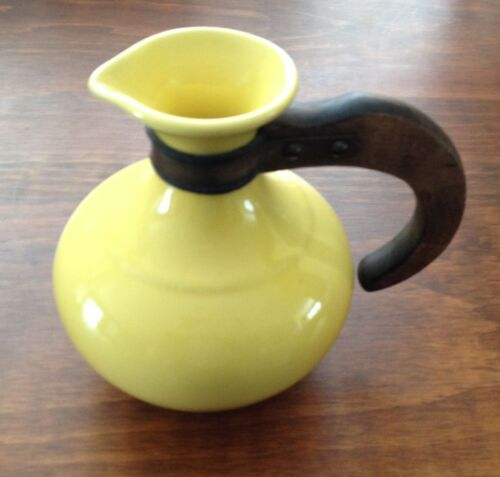 Small GMB Art Deco Yellow Pottery Pitcher with Wooden Handle