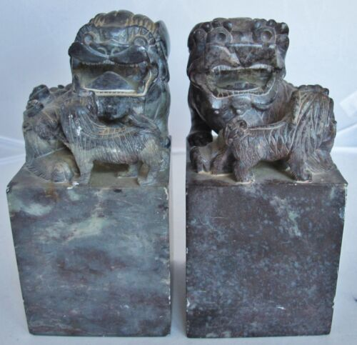 "Antique ? Pair of Chinese Hand Carved Soapstone FOO DOG Chop Seals (6.7"" x 3.6"")"