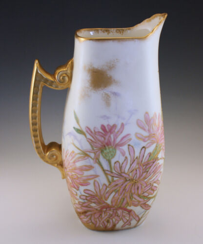 VICTORIAN 1891 T&V LIMOGES PITCHER -HAND PAINTED DATED AND SIGNED BY THE ARTIST