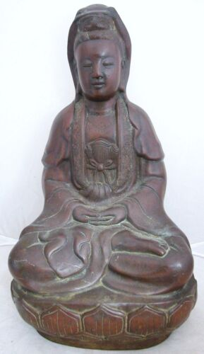 """Antique Chinese Bronze Seated KWAN-YIN or BUDDHA on Lotus Blossom  (11.9"""" tall)"""