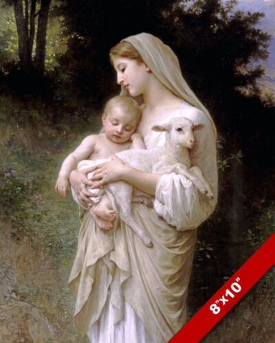 L'INNOCENCE MARY & LAMB CHRIST BY WILLIAM-ADOLPH CHRISTIAN ART REAL CANVAS PRINT