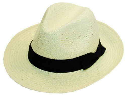 Mens Ladies Fedora Panama Hat Sun Hat With Wide Black Bow Trim  One Size