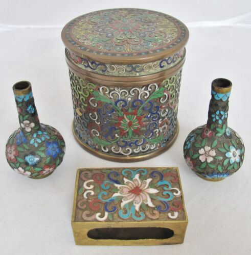 Antique Chinese Champleve Cloisonne Smoking Set w/ Round Cigarette Box & 2 Vases