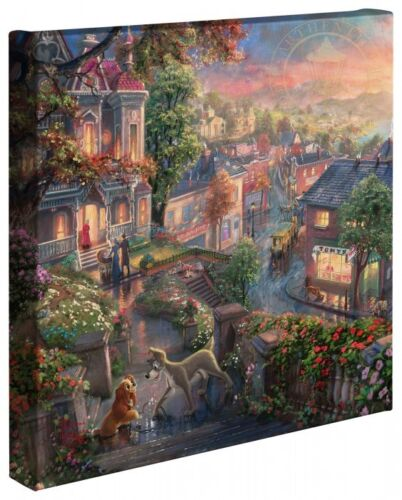 Thomas Kinkade Studios Disney Lady and the Tramp 14 x 14 Gallery Wrapped Canvas