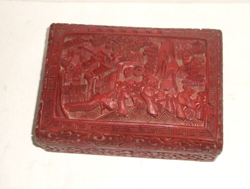 OLD 19TH CENTURY CHINESE CARVED CINNABAR LACQUER LANDSCAPE SCENE CARVED BOX