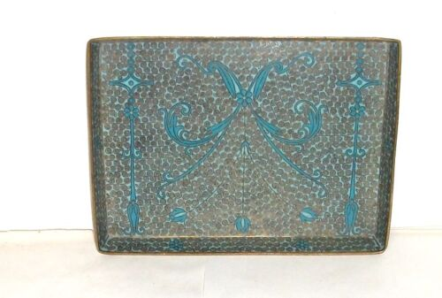 RARE OLD 19TH CENTURY CHINESE TURQUOISE CLOISONNE ENAMEL FLORAL TRAY