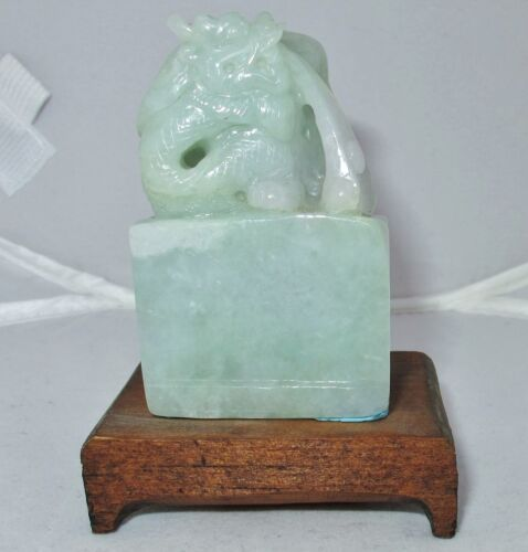 "2.45"" Chinese Carved Celadon Green JADEITE Jade Dragon Chop Seal Statue on Stand"