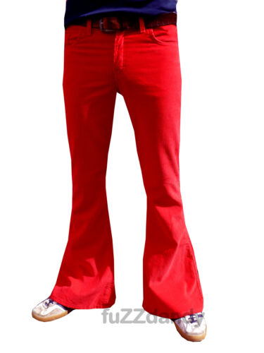 FLARES Red mens bell bottoms Cords jeans hippy vtg indie trousers 60s 70s NEW <br/> ALL SIZES AVAILABLE 30 32 34 36 38